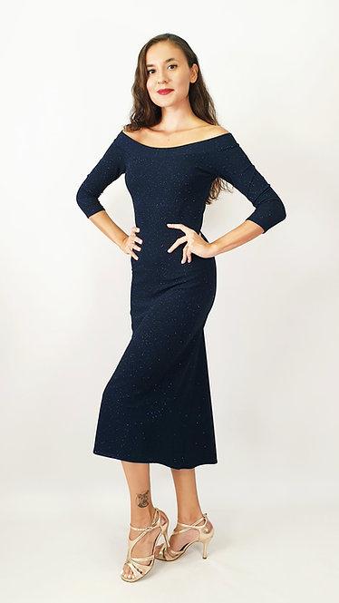 Lyssa - Off Shoulder Navy Blue Shiny Tango Dress