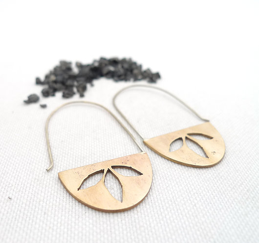'three leaves' mixed metal handmade rigid dangle earrings