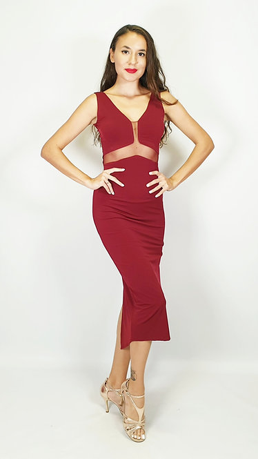 Angelina - Maroon Tango Dress