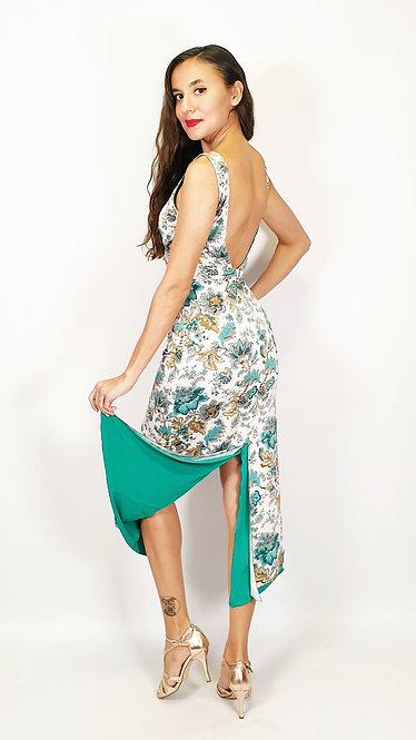 Mesmerizing Malaga - Floral & Cyan Green Tango Dress