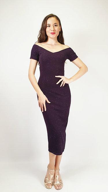Thalia - Off Shoulder Purple Shiny Tango Dress