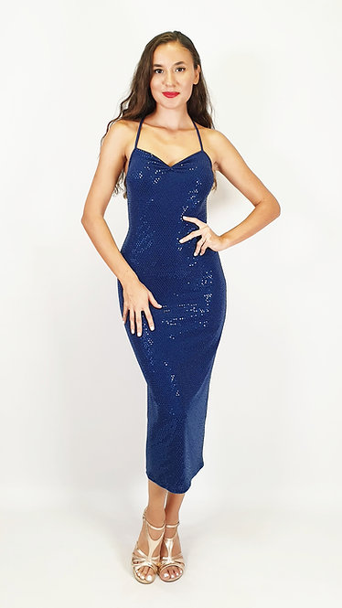 Aurora - Dark Blue Sequin Sweet Heart Shiny Tango Dress