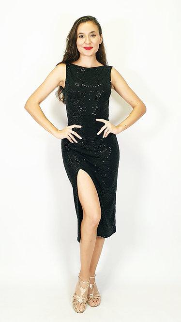 Athena - Black Sequin Closed Neck Shiny Tango Dress