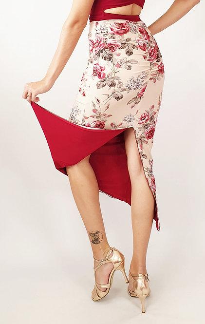 Rosa de Valencia Floral & Maroon Reversible Tango Skirt