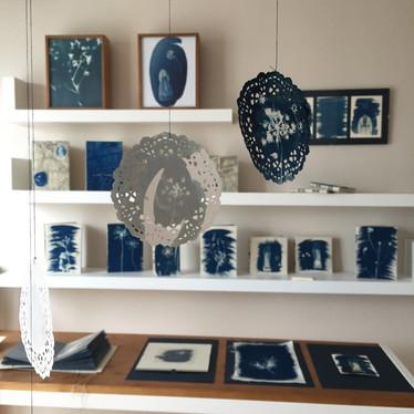 installation of cyanotype-blue prints, 'Hayal-et Khalkedon'-'Imagine Khalkedon', 2019.