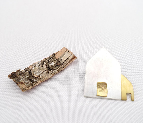 'an absolute house with a smaller one..' mixed metal handmade pin
