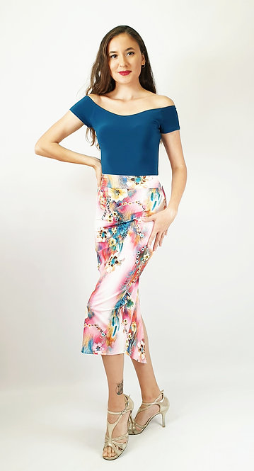 Top: Victoria Petroleum Blue - Skirt: Exotic Havana  - Floral