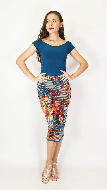 Top: Victoria Petroleum Blue - Skirt:Eye-Catching Madrid Floral & Petroluem Blue