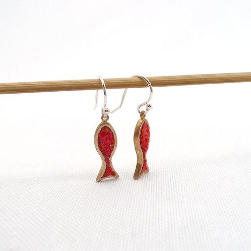 'rainbow fish' mixed metal and media vertical handmade dangle earrings