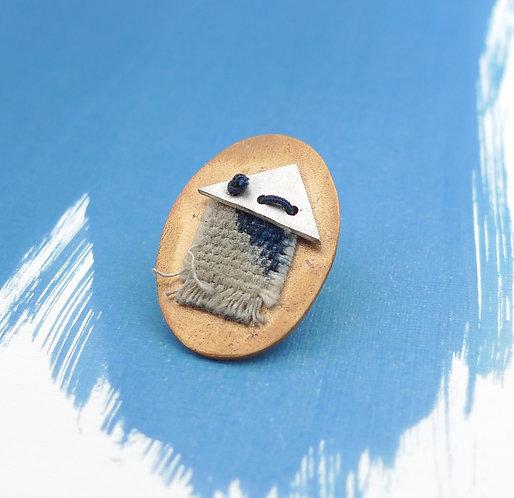 'blue maisonette' mixed metal and media handmade pin