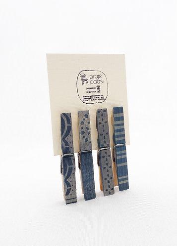 'blue clips' cyanotype on wooden handmade clips