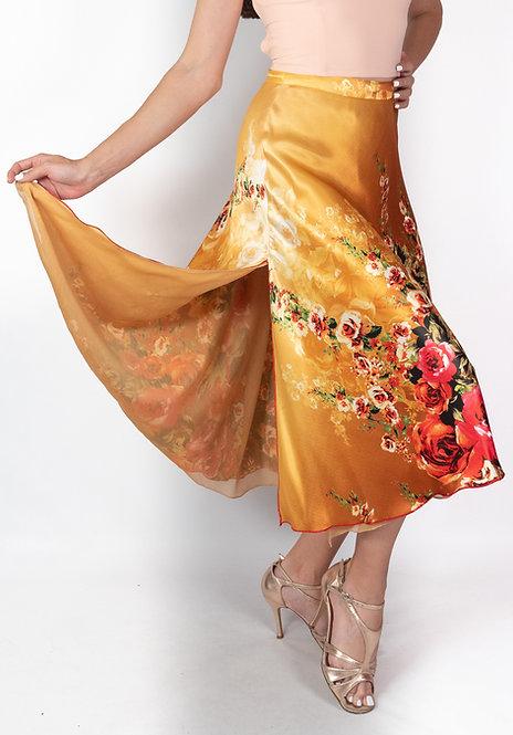 Flowy & Satin - Mustard & Rose Flower Full Klosh Satin Tango Skirt