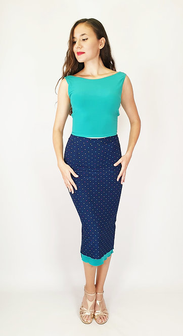 Top: Julia Cyan - Skirt: Colorful Dotted Navy Blue