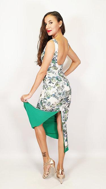 Carnaval de Venice - Floral & Emerald Green Tango Dress
