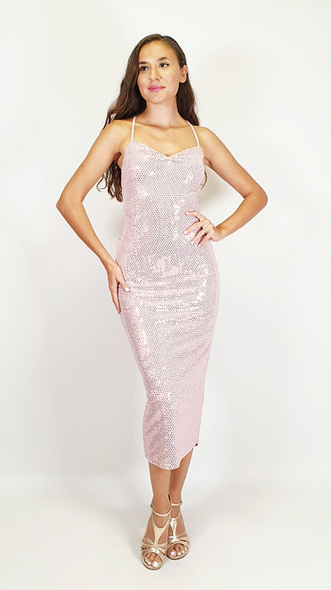 Selene - Pink Sequin Sweet Heart Shiny Tango Dress