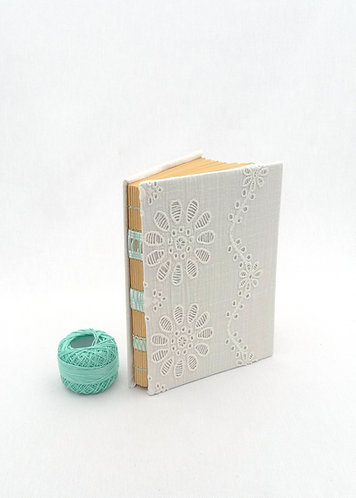 'turquoise flowers' handmade notebook