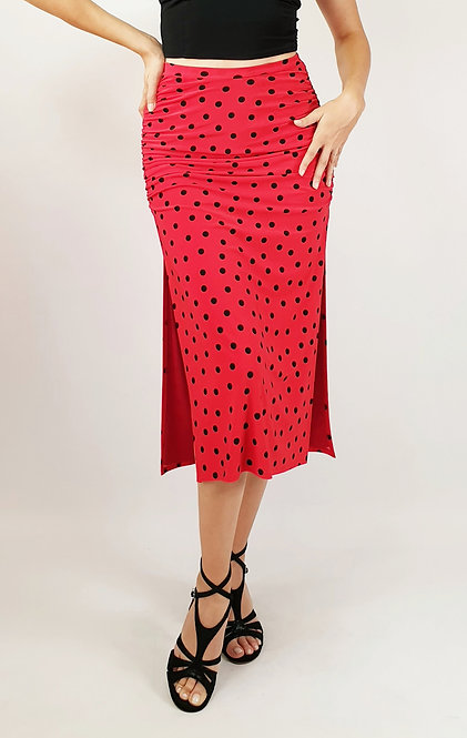 Black Dotted Red Tango Skirt