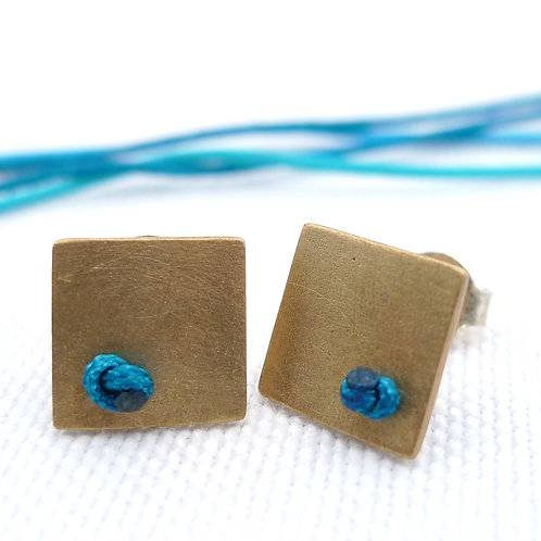 'knotted' bronze handmade stud earrings, unisex