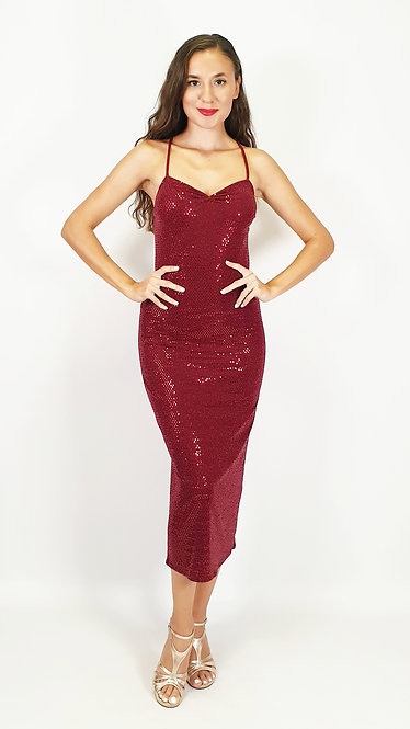 Euporia - Maroon Sequin Sweet Heart Shiny Tango Dress