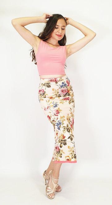Top: Julia Coral Pink - Skirt: Reversable Roman Desire - Floral & Coral Pink