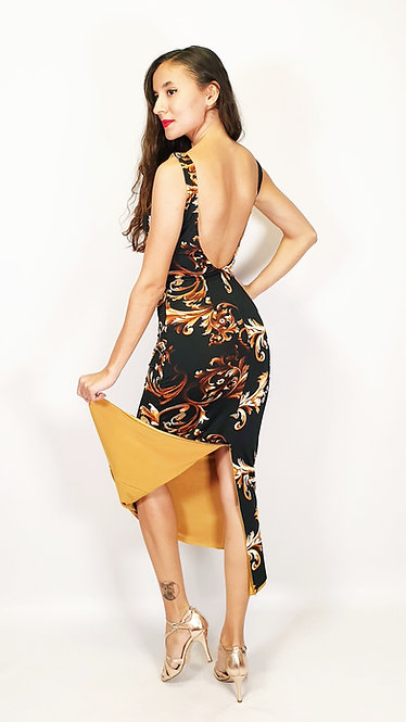 Divine Athens - Floral & Mustard Yellow Tango Dress