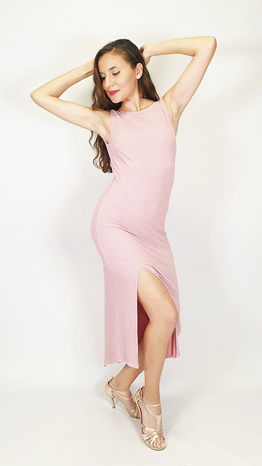 Selene - Pink Closed Neck Shiny Tango Dress