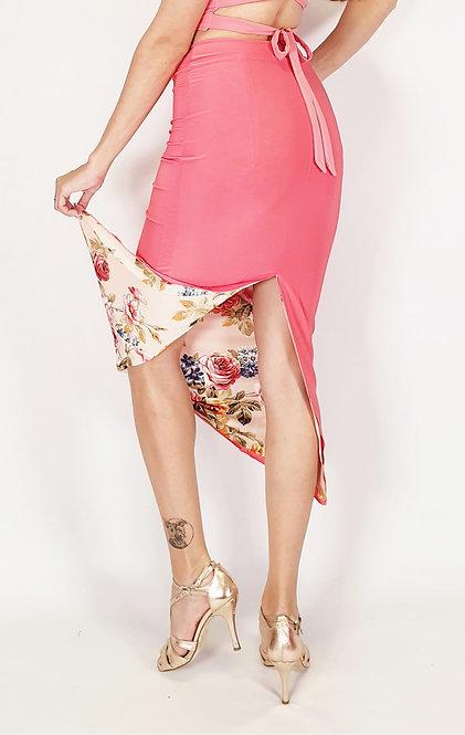 Roman Desire Floral & Coral Pink Reversible Tango Skirt