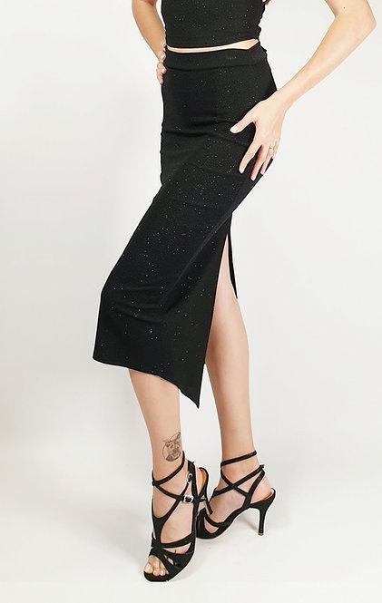 Athena - Black  Ruched Shiny Tango Skirt