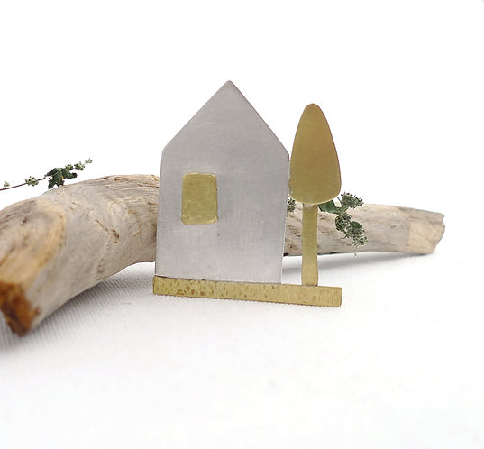 'an absolute house with a tree' mixed metal handmade pin