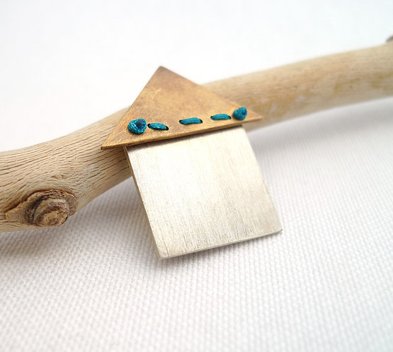 'stitched roof' mixed metal and media handmade brooch