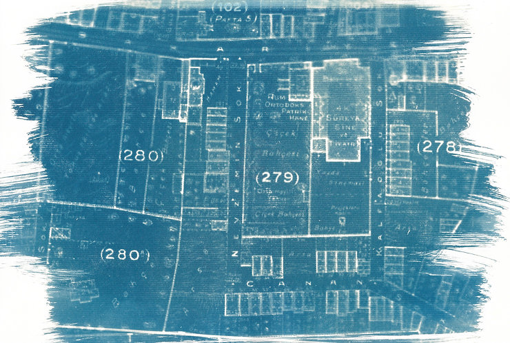 'capturing architecture: traces from history' cyanotype monoprint on paper