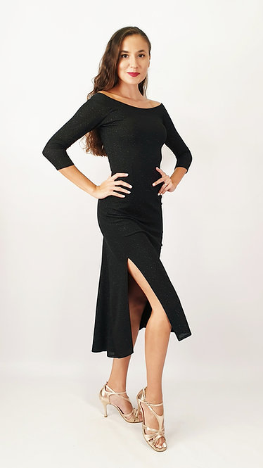 Athena -  Off Shoulder Black Shiny Tango Dress