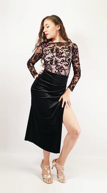 Mariana - Black Velvet Tango Show Dress