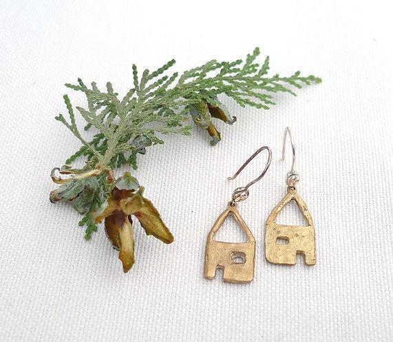 'primitive and cute' mixed metal and media handmade earrings