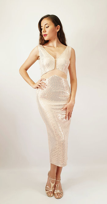 Rhea - Light Salmon Sequin Shiny Tango Dress