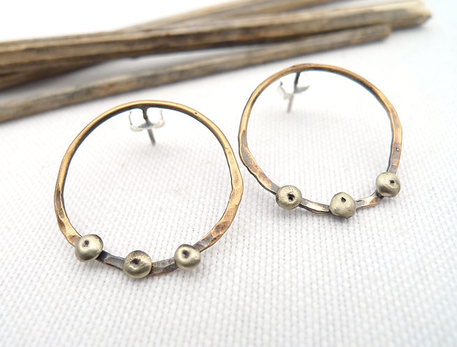 '3 dots' mixed metal hammered handmade stud earrings