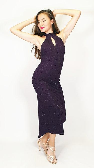 Thalia - Purple Halterneck Shiny Tango Dress