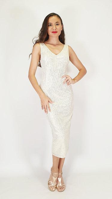 Maia - Cream V Neck Shiny Tango Dress