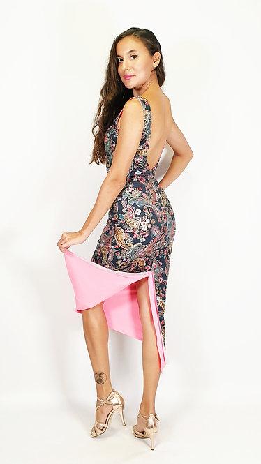 Bucharest Fever Floral & Neon Pink Tango Dress
