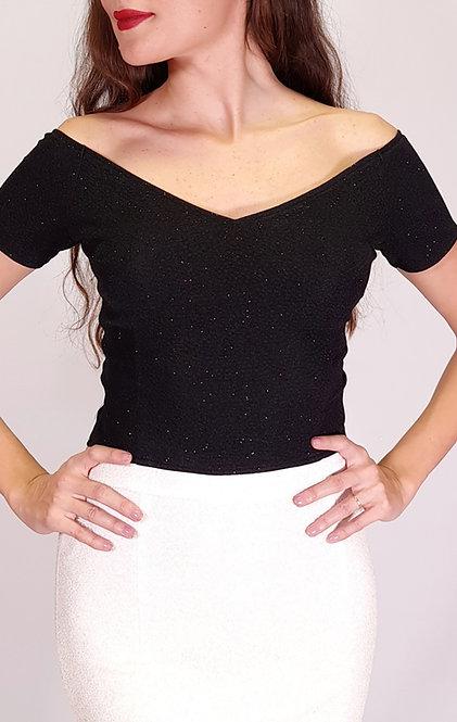 Athena - Valentina Black Shiny Tango Top