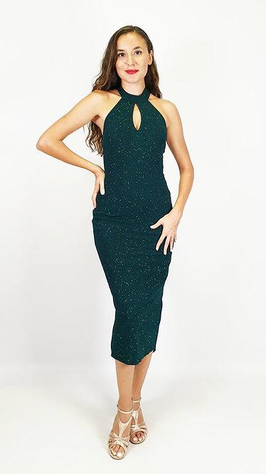 Electra - Petroluem Green Halterneck Shiny Tango Dress