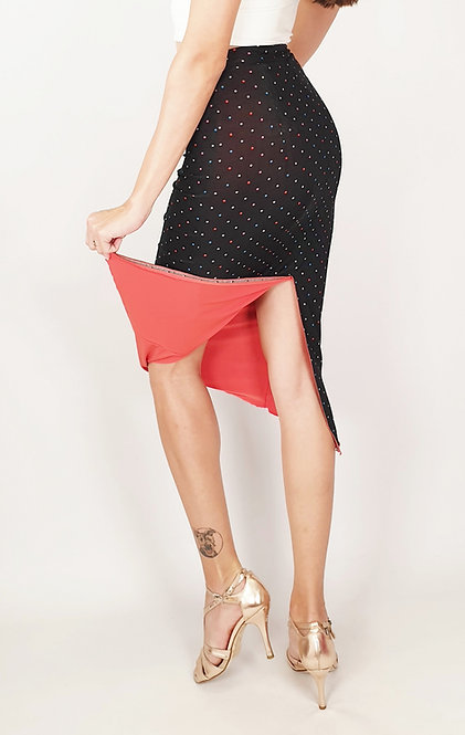Colorful Dotted Black  Reversable Tango Skirt
