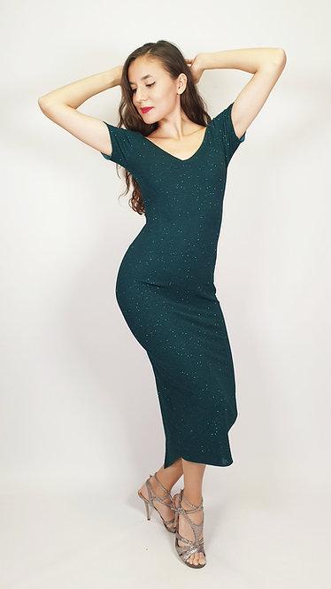 Electra - Off Shoulder Petroluem Green Shiny Tango Dress