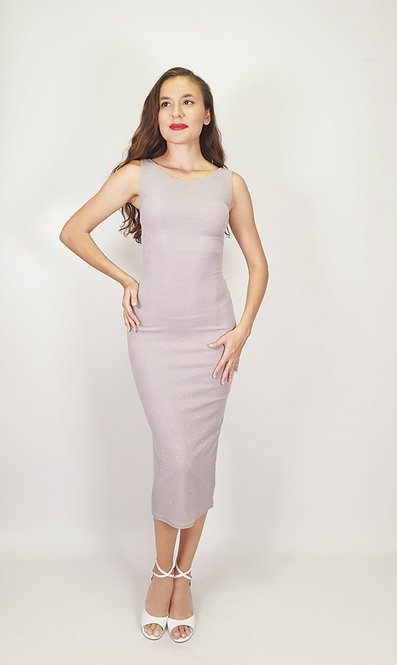 Megaera - Light Grey Closed Neck Shiny Tango Dress