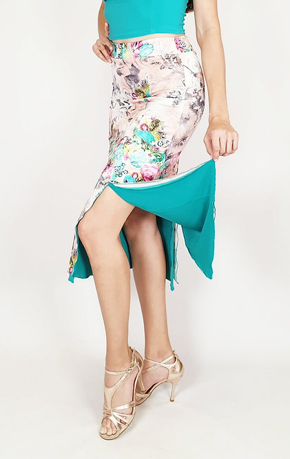 Mysterious Jakarta Floral & Cyan  Tango Skirt