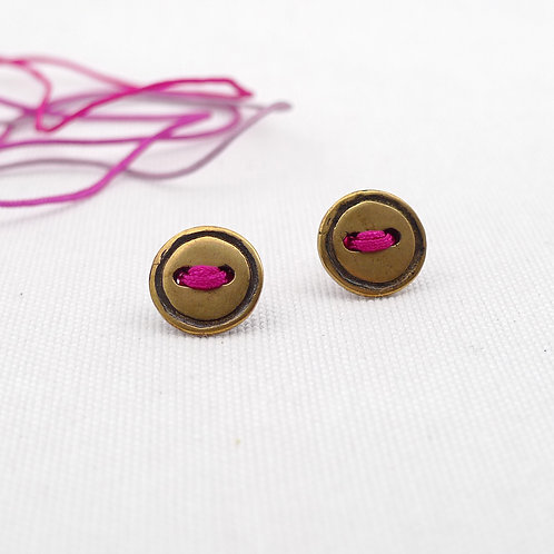 'vintage buttons' mixed metal and media oxidized handmade stud earrings, unisex