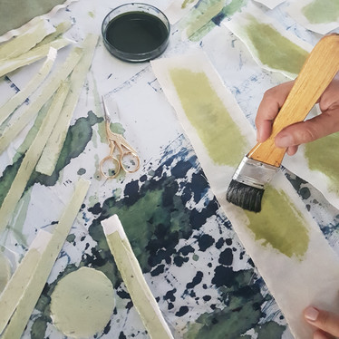 applying the chemicals, preparation of the cyanotype process.