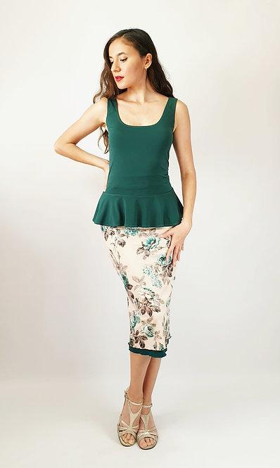Top: Barbara Green - Skirt: Reversable Bella Catania - Floral & Green