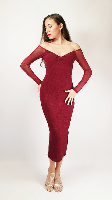 Europia - Maroon Long Sleeve Shiny Tango Dress