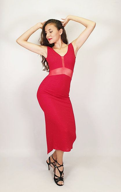 Aphrodite - Red V Neck Transparent Shiny Tango Dress